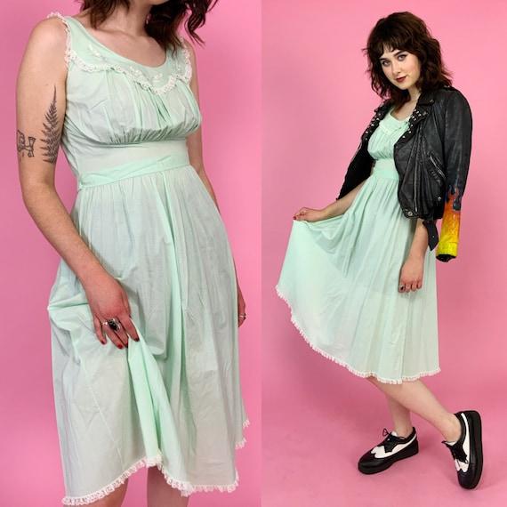 60's Vintage Mint Green House Dress Small - Retro Shadowline Sleepwear Sleeveless Cotton Pastel Green Summer Dress - Girly Cotton Casual Fem