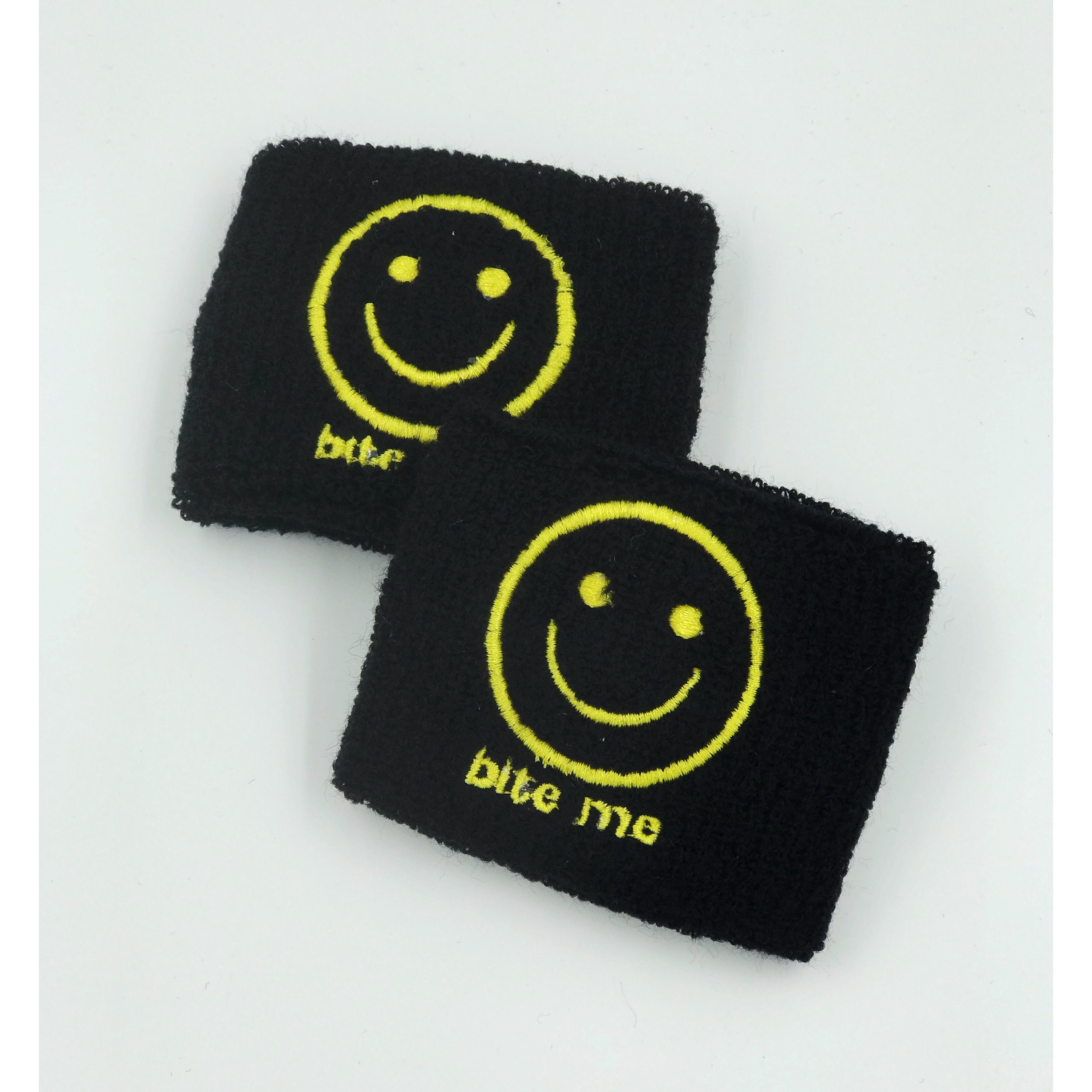 BITE ME Happy Face Wrist Sweatbands 2 Pack - Sporty Black Yellow ... c823cf31e1f
