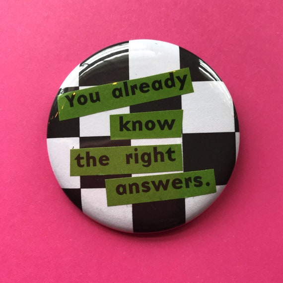 "2.25"" Handmade Collaged Pinback Button - Big Large Upcycled Typography Pin - Black White Green Checker Print Unique Paper Craft Accessories"