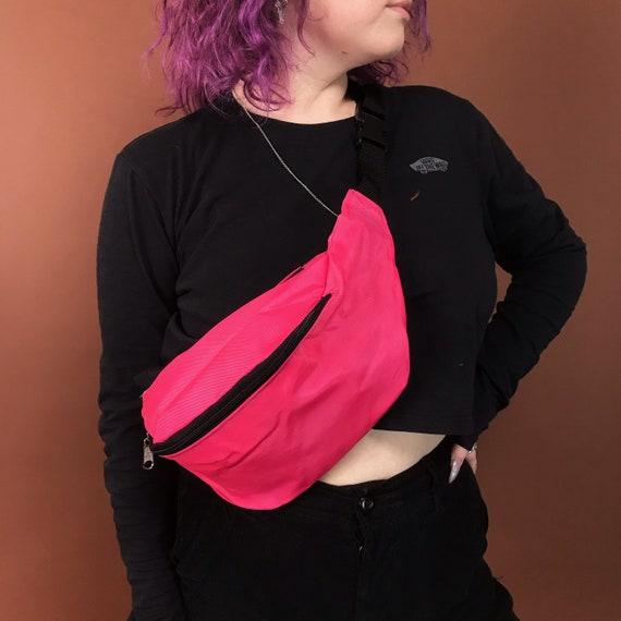 90's Deadstock Vintage Neon Fanny Pack - Solid Pink OR Purple Summer Belt Bag - Oversized Bum Bag Unisex Hip Purse Vacation Bag Never Worn