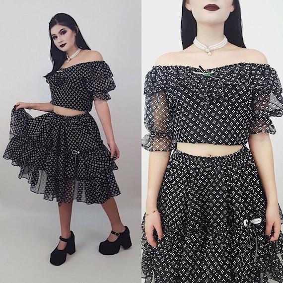 Vintage Ruffle Two Piece Top + Skirt Small Medium - Womens Ruffled Vtg All Over Pattern Polka Dot Black + White Lolita Dress Coords 2 pc Set