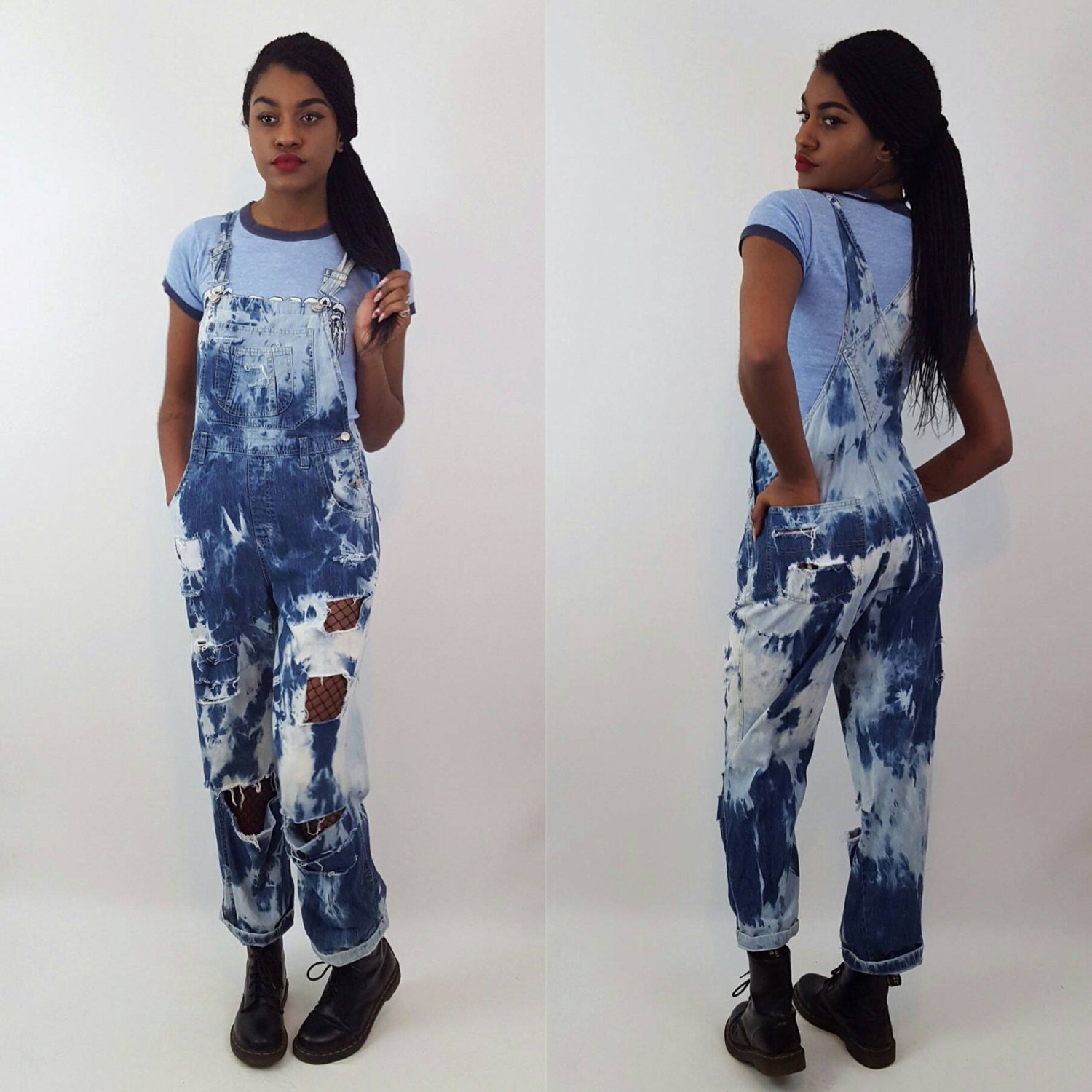 143505ec972 Remade 90 s Vintage Shredded Tie Dye Overalls - Small Hand ...