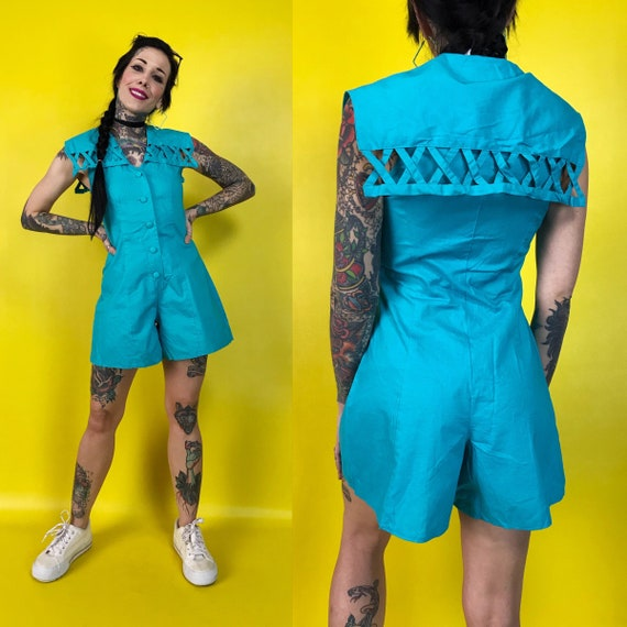 90's Vintage Sky Blue Shorts Romper 3/4 - DEADSTOCK One Piece Sleeveless Playsuit w/ Oversized Bib Collar - Spring Basic Button Front Romper