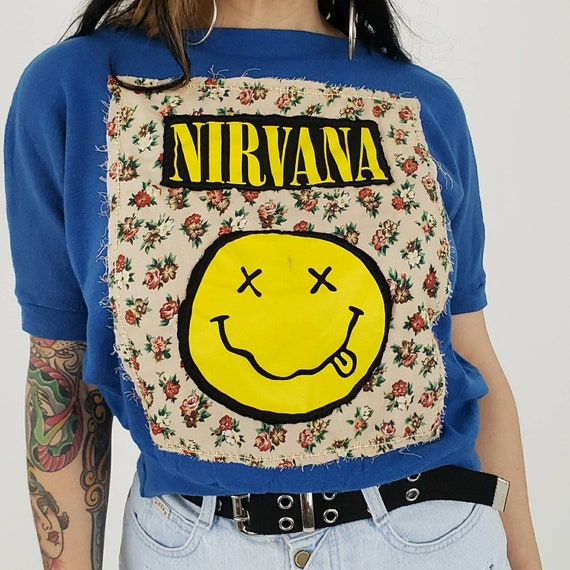 Upcycled Vintage Nirvana Patch Top Medium -  Blue Batwing Sleeve Remade Top - VTG Womens Top w/ Unique Floral & Smile Face Patch Added