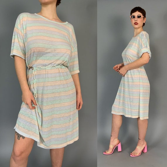 80's Pastel Striped Worn Paper Thin Vintage Long Line T-Shirt Dress - Horizontal Striped One Size Slouchy Distressed Grunge Sleep Shirt