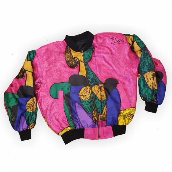 90s Colorful Zip Up Picasso Windbreaker Jacket Medium Large - VTG Pink Purple Black Printed Silky Jacket - Art Portrait Print Clothing