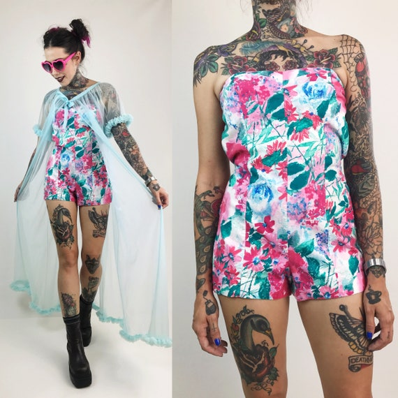 80's Floral Strapless Romper Playsuit Medium Size 4/6 - One Piece Beach Summer Shorts Romper Womens One Piece Vintage Painterly Floral Suit