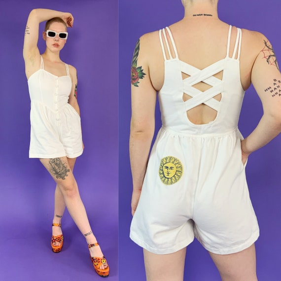 90's Upcycled White Denim Shorts Romper Small 6/7 - Celestial Sun Patch VINTAGE Jean Playsuit Shortssuit - White Denim Summer Casual Shorts