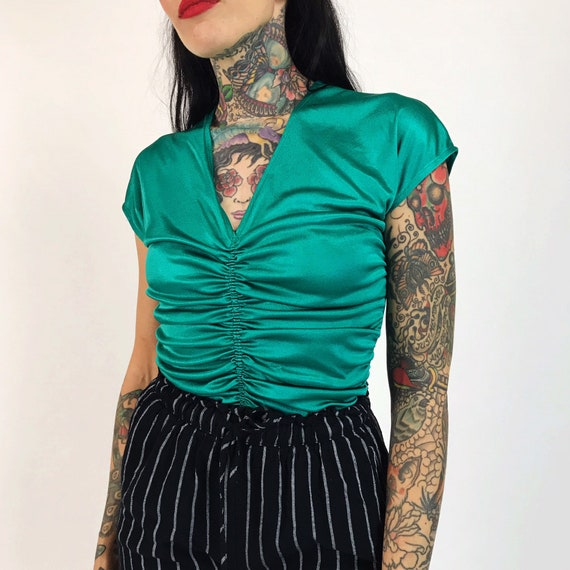 70's Teal Turquoise Blouse Small - Aqua Green Sexy Ruched Cap Sleeve Disco Top - Low Cut Dressy Party Blouse - Vintage Silky Slinky Top