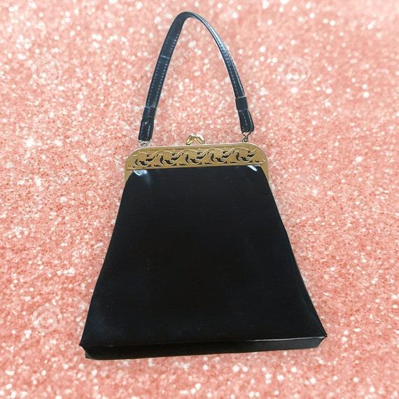 60s Vintage Black Faux Leather Purse - Dressy Black & Gold Filigree Vtg Handbag - Top Handle Gold Detail Special Occasion Purse Hand Bag
