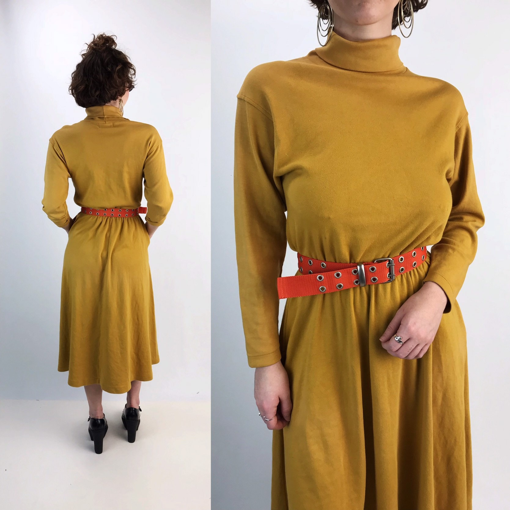 0bdf15013d49 80 s Long Sleeve Turtleneck A-line Cotton Midi Dress w  Pockets S M ...