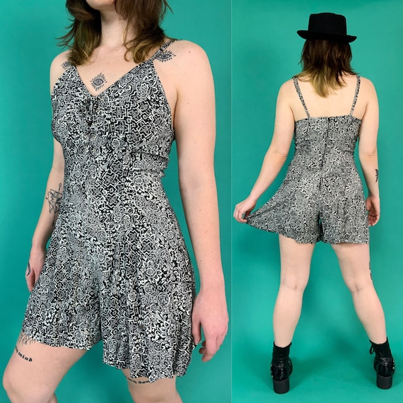 90's Black Allover Print Shorts Romper with 6/7 - Aztec Print Cool Rayon Summer Shorts Playsuit Vintage Onepiece Cute Casual Jumpsuit Shorts