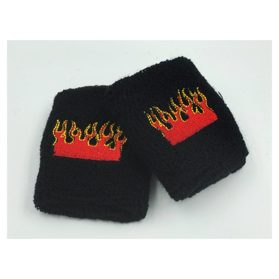 Flames Wrist Sweatbands 2 Pack - Sporty Black Red Flames Grunge Accessory - Sporty Trendy Skater Grunge Wrist Cuff - Black Aethletic Armband