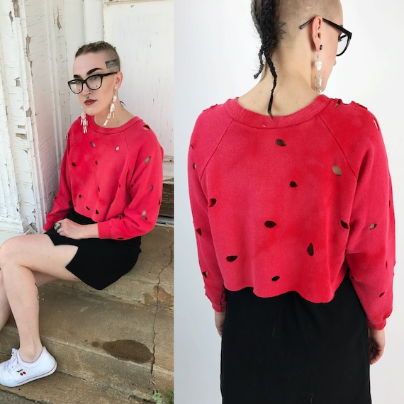 Red Grunge Holey Cropped Crew Neck Sweatshirt S/M -  50/50 Soft Slouchy Long Sleeve Crop Top Soft Crop Top Cherry Red Faded W/ Holes Allover