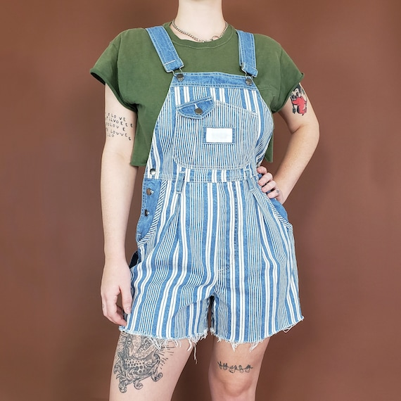 90s Blue & White Striped Overall Shorts Medium - Summer Retro Jumper Shorts Overall - Vtg Casual Overall Suspender Shorts One Piece