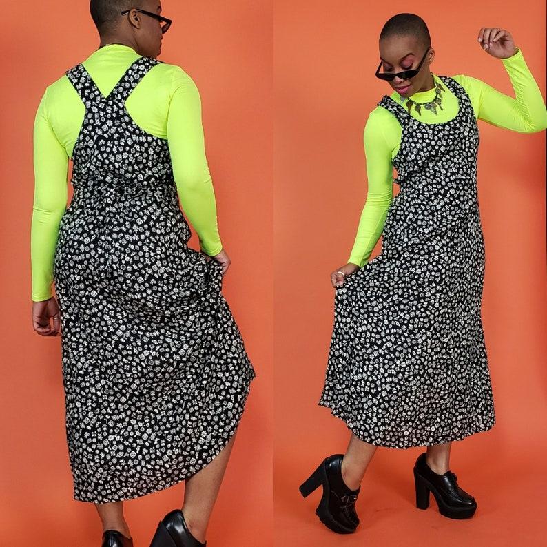 1990s Deadstock Overall Jumper Dress with Original Tags Long Grunge Boho Sundress 90/'s Vintage Black /& White Floral Maxi Dress Medium