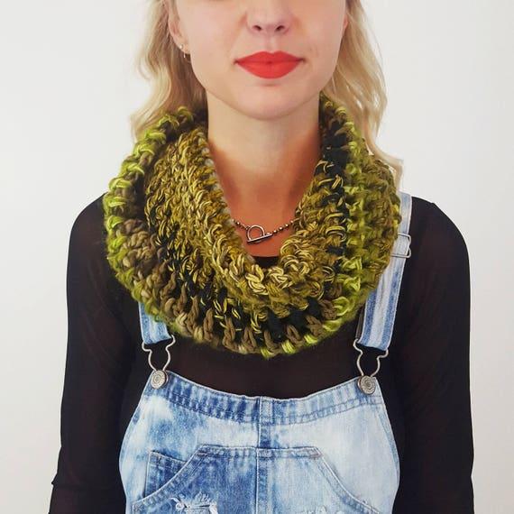 Handknit Handmade Green Circle Scarf Cowl - Boho Hipster Art Fashion Womens Accessory - Soft Warm Fall Upcycled Yarn Crochet Stripe Scarf