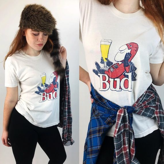 80's Thin Retro Budweiser Bud Man T-shirt Medium - VTG Beer Logo Shirt White Paper Thin Beer Logo - Bud Beer Shirt Old School Budweiser Logo