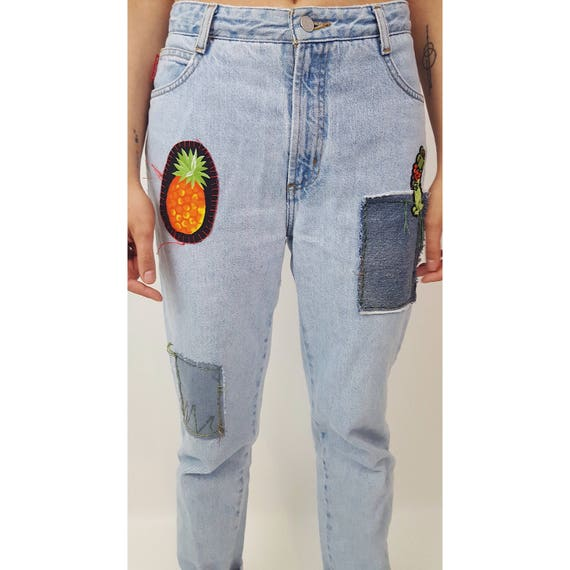 Vintage Patchwork Retro High Waist Jeans Small Medium - Distressed Vintage Patched Blue Jeans - Reworked Pineapple Patch Denim Boho Hippie