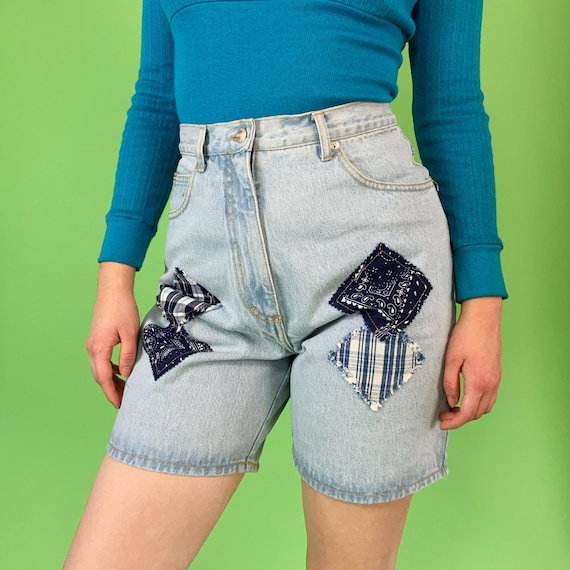 """90's Upcycled Patched Paisley Long Jean Shorts 30"""" High Waist - Light Blue Wash Reworked Unique VTG Patched Mixed Prints Long Denim Shorts"""