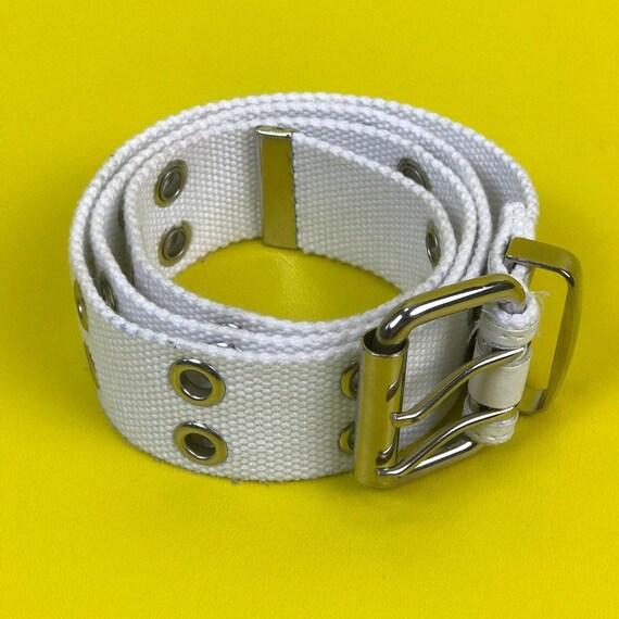White Grommet Belt - Adjustable Fit Womens Accessory Silver Grommets Eyelet Belt - Y2K Basic Canvas Grommet Belt White Grunge Accessories