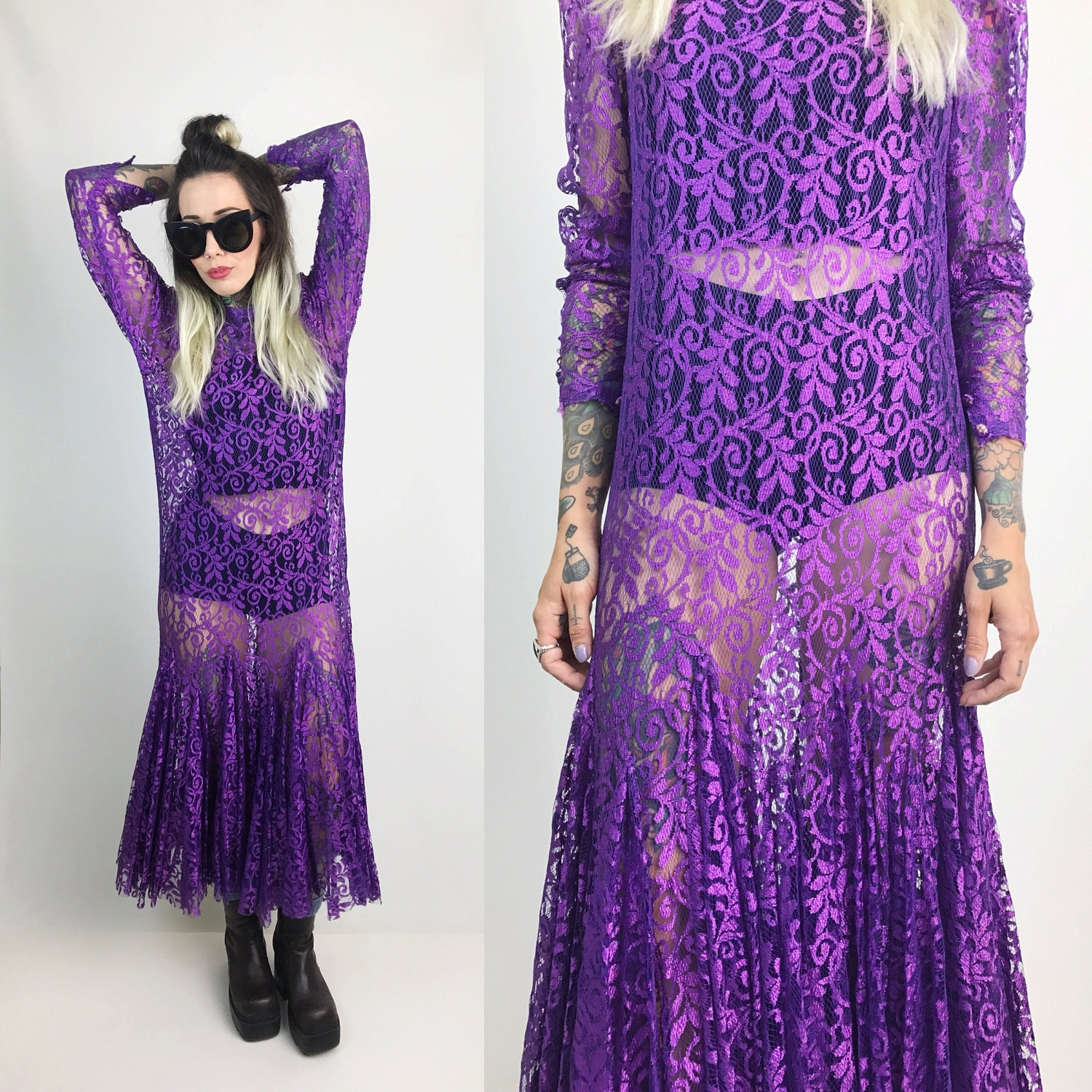 80s Sheer Lace Maxi Dress Size 46 Small Long Sleeve