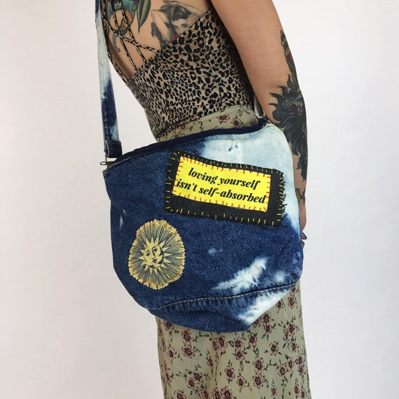 90's Tie Bye Patched Acid Wash Denim Purse Upcycled Hand Stitched DIY Punk Grunge - Unique Self Love Celestial Patches Vintage Crossbody Bag
