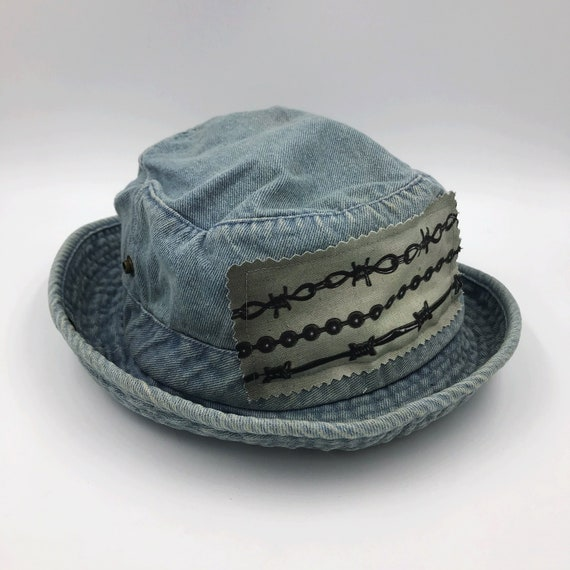 1990's Barbed Wire Denim Bucket Hat - Unisex Denim Upcycled Remade Nineties Goth Grunge trend - Patched Denim Sun Hat Round Bucket Brim Hat