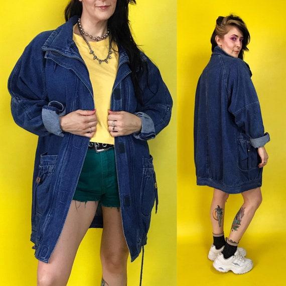 80's Baggy Denim Coat With High Neck Womens Medium - Long Everyday Winter Denim Street Wear Slouchy Denim Coat - VTG Navy Blue Outerwear