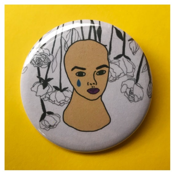 "2.25"" Pinback Button - Weird Mannequin Head Face Crying Eyes Woman Beauty Large Button - Handmade Weird Round Pin - Tumblr Trendy Sad Girl"