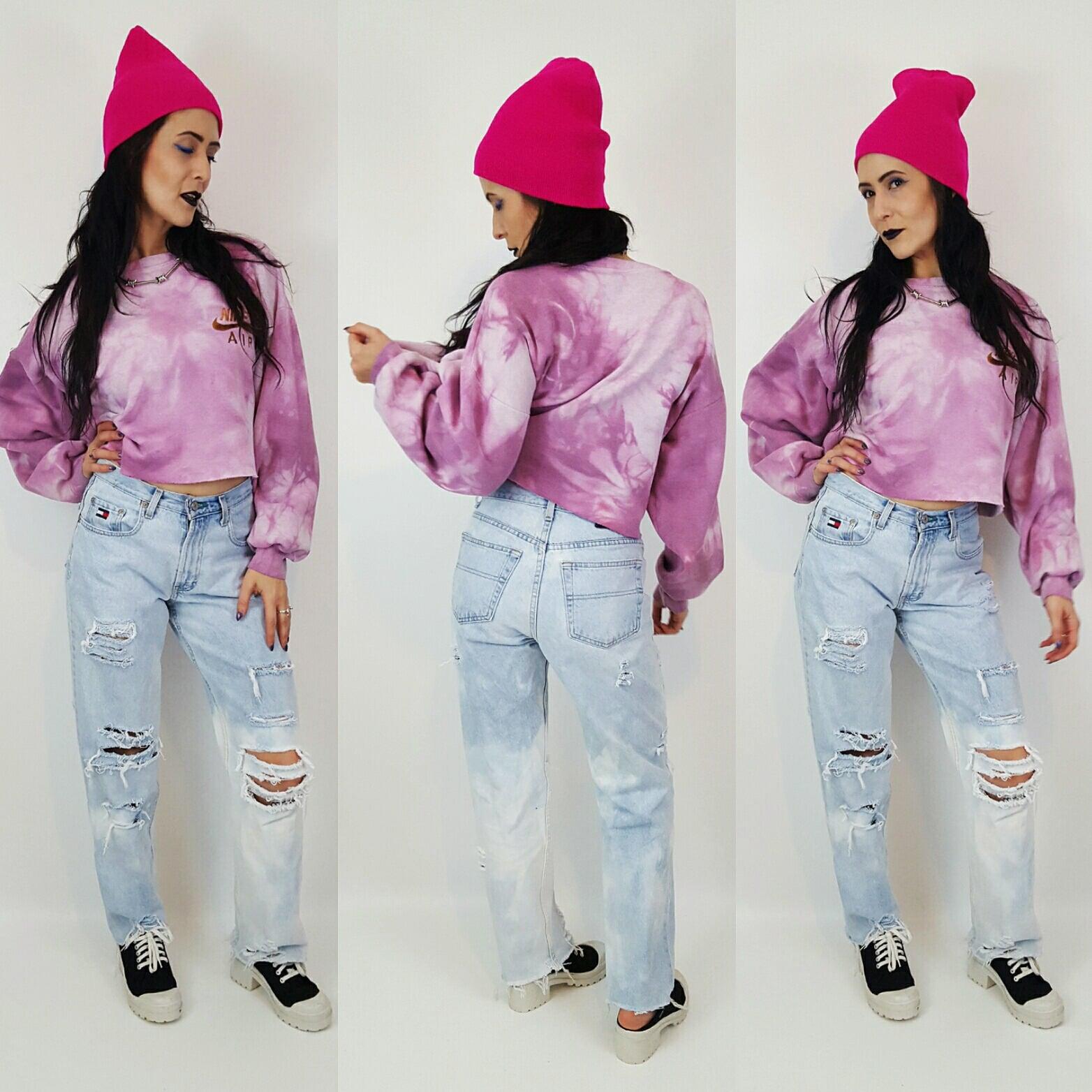 c35480403029e Nike Pink Tiedye Cropped Sweatshirt - Large Oversized Baggy Crop Top ...