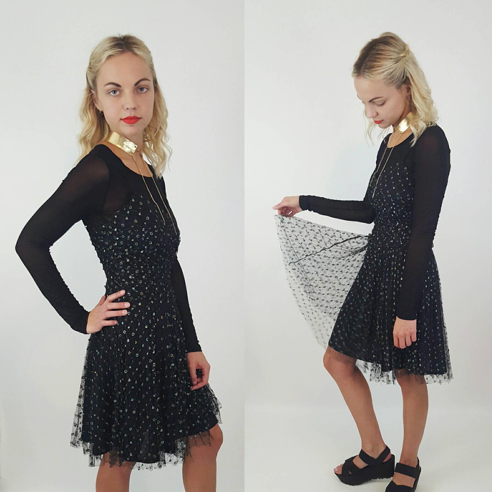 87615382 Betsey Johnson Sheer Black Sparkle Dress Small- Spaghetti Strap Party Dress  with Iridescent Glitter Confetti Overlay - Sleeveless Minidress