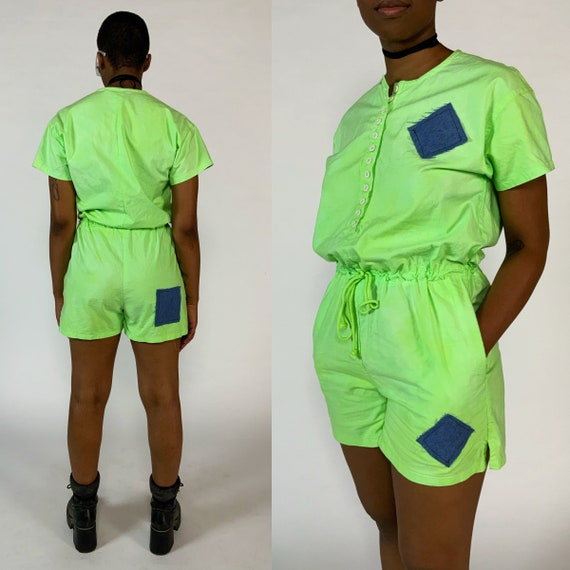 90's Upcycled NEON Green Cotton Playsuit Shorts Romper Medium - Vintage One Off Denim Patch Summer Casual Playsuit One Piece Shorts Jumpsuit