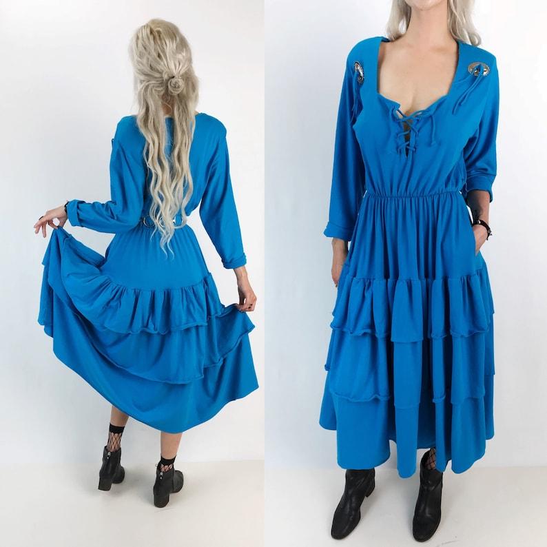 836a58cf9a15 80 s Western Style Sky Blue Ruffle Midi Dress w  Concho