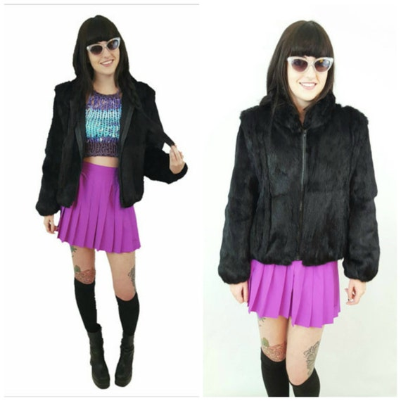 Black 80s Vintage Rabbit Fur Jacket Small Medium - 1980s Vtg Winter Warm Animal Fur Coat - Short Fuzzy Zipper Luxury Overcoat S M