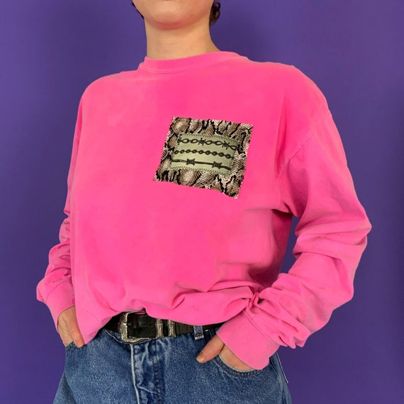 90's Upcycled NEON Pink Unisex Patched Tee Large - 1 Of 1 UNIQUE Grunge Barbed Wire Snake Print Back Patch Casual Streetwear Weird Long Tee
