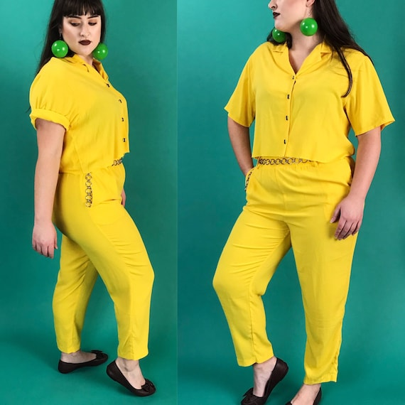 90's Matching Top & Pants Casual Two Piece Set Medium - Vintage Button Up Cropped Frayed Blouse With Matching High Waist Trousers Outfit