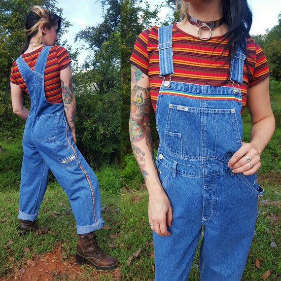 90's Vintage Deadstock Denim Overalls with Rainbow Stripes Womens Medium - New with Tags Pants Jumper Jean Jumpsuit Overall Rare VTG
