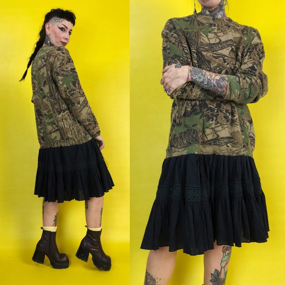Upcycled Vintage Camo Sweater Dress Medium - Drop Waist Ruffle Babydoll Dress - Black Reconstructed Slouchy Grunge Sweater Dress Avant Garde