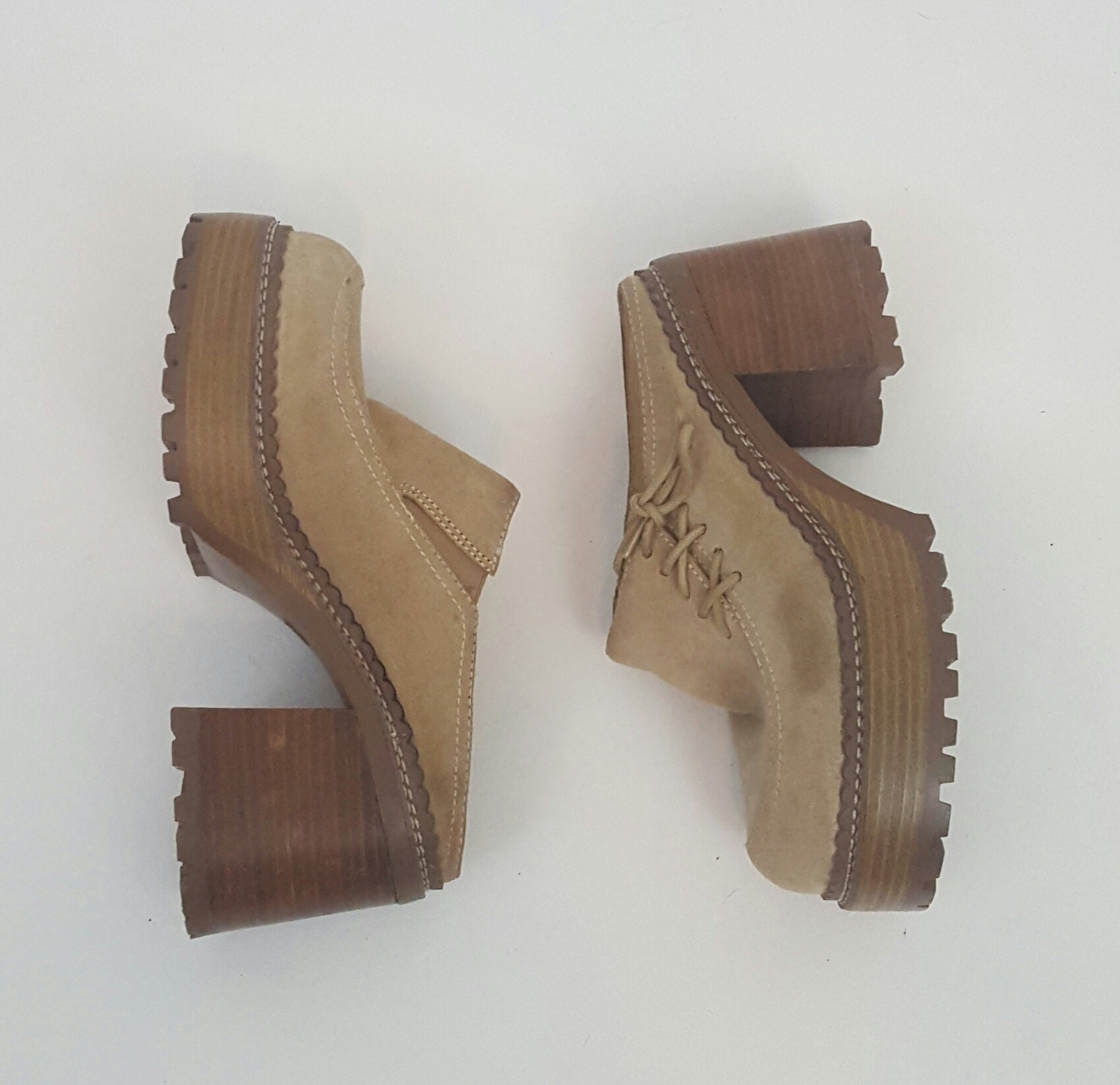 5373e464fd4 Vintage 90's Light Brown Chunky Heel Platform Clogs 7 - Thick ...