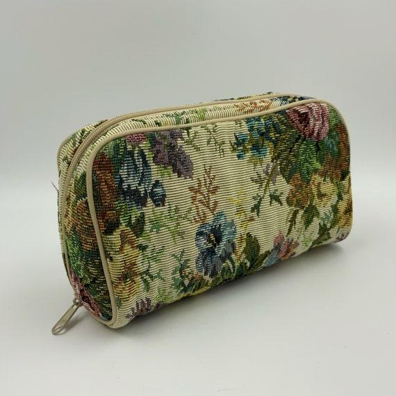 80's Floral Tapestry Print Zipper Bag - Vintage Pink Girly Mini Bag Zip Wallet Cute Makeup Bag Jewelry Travel Bag - Eighties Purse Insert