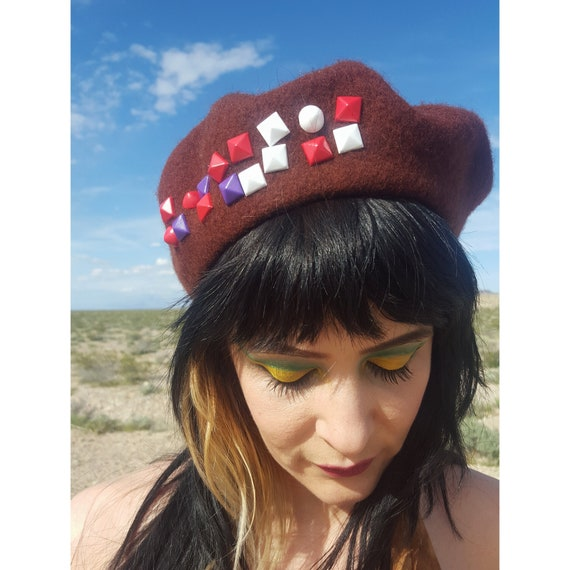 Chocolate Brown Beret with Colorful Studs - Classi