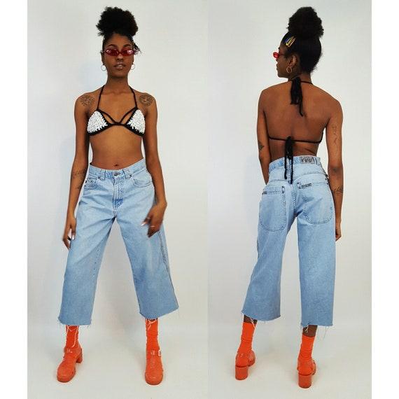90's Ultra Wide Leg Denim Light Wash Small Medium - Vintage 1990's Skater Pants Grunge Raw Hem Jeans - Women's Cropped Denim Frayed Pants