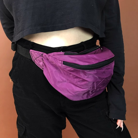 90's Deadstock Neon Fanny Pack - Solid Pink OR Purple Basic Summer Belt Bag - Oversized Bum Bag Unisex Hip Purse Vacation Bag Never Worn