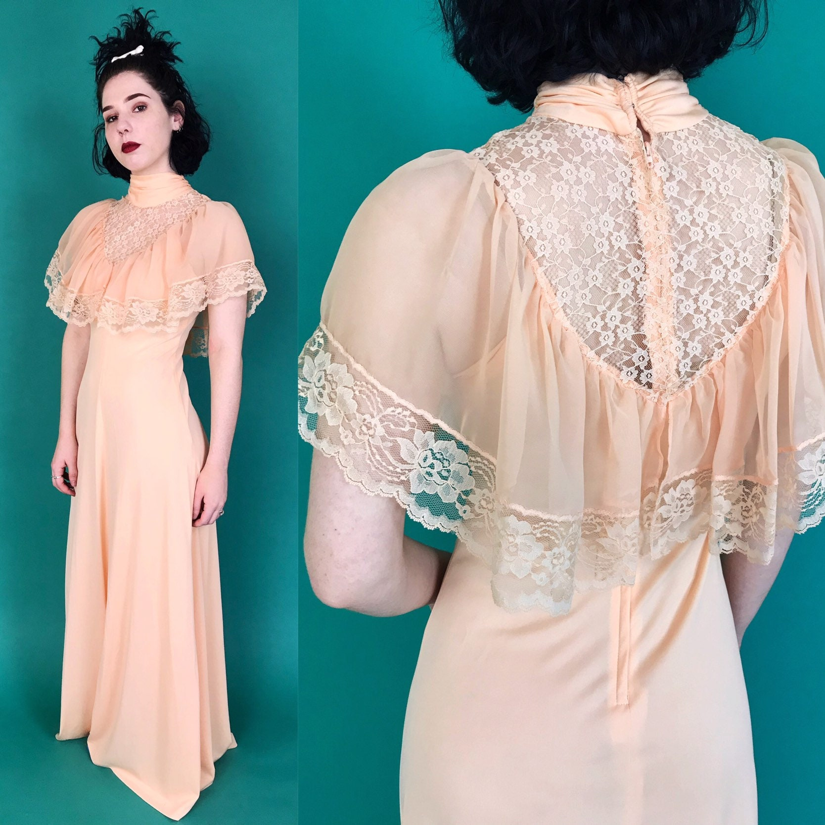 f9a72866cd4 ... Formal Dress - Rare Romantic Girly Victorian Lacy Cape Sleeve  Minidress. gallery photo ...