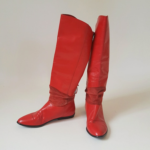 80's Red Leather Size US 7.5  - Women Cherry Red Suede Knee High Pointy Boots - Tall Flat Heel Boots with Lace-Up Details