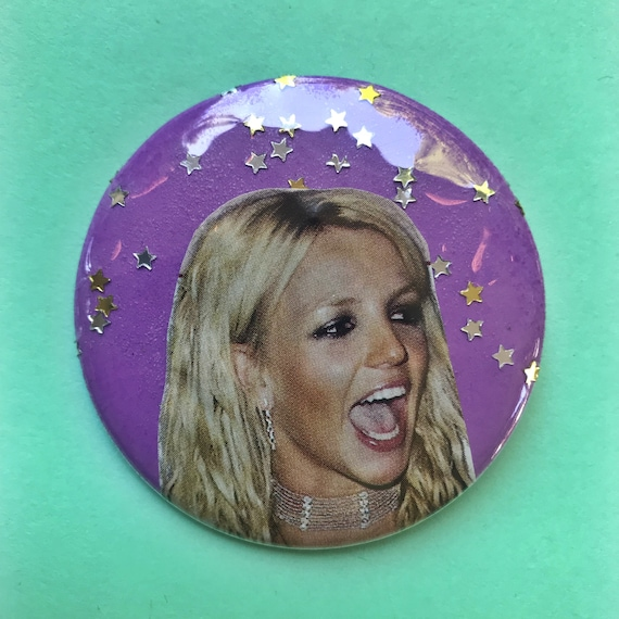 "2.25"" Collaged Pinback Button - Britney Spears Glitter Pop Music ICON Button Large Badge - Handmade One Of A Kind RARE Britney Statement Pin"
