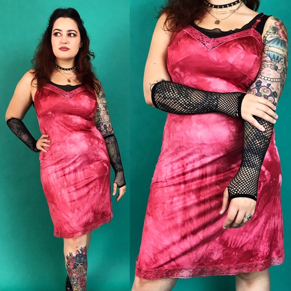 Vintage Hand Dyed Slip PINK Slip Size 36 M/L - Hot Pink Tie Dye Lingerie Slip Dress Layer - Vanity Fair Nylon Lace Trim Feminine Knee Length