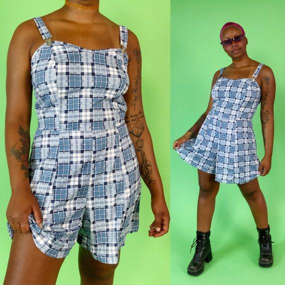90's Vintage DEADSTOCK Plaid Shorts Romper Medium - Nineties NWT Check Print Summer One Piece Shorts Suit - Cute Vintage Playsuit Romper