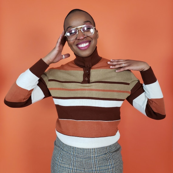 70's Retro Pullover Sweater With High Collar Unisex Medium - True Vintage Striped Sweater Top w/ Oversized High Neck Collar Mens Womens